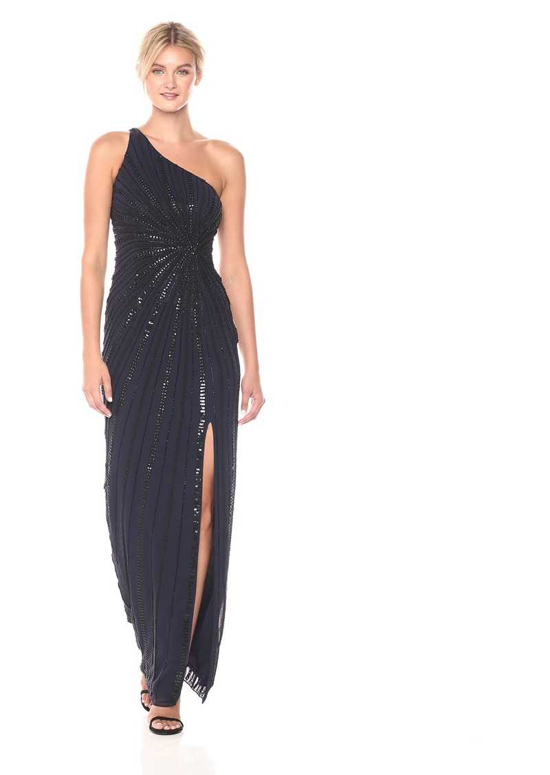 Adrianna Papell Women's One Shoulder Long Beaded Gown
