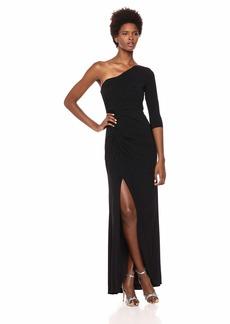 Adrianna Papell Women's One Shoulder Long Matte Jersey Dress