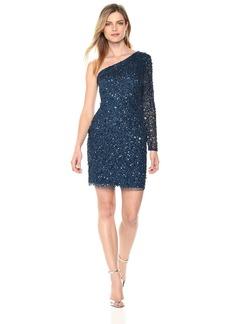 Adrianna Papell Women's ONE Shoulder Long Sleeve Allover Beaded Cocktail Dress deep Blue