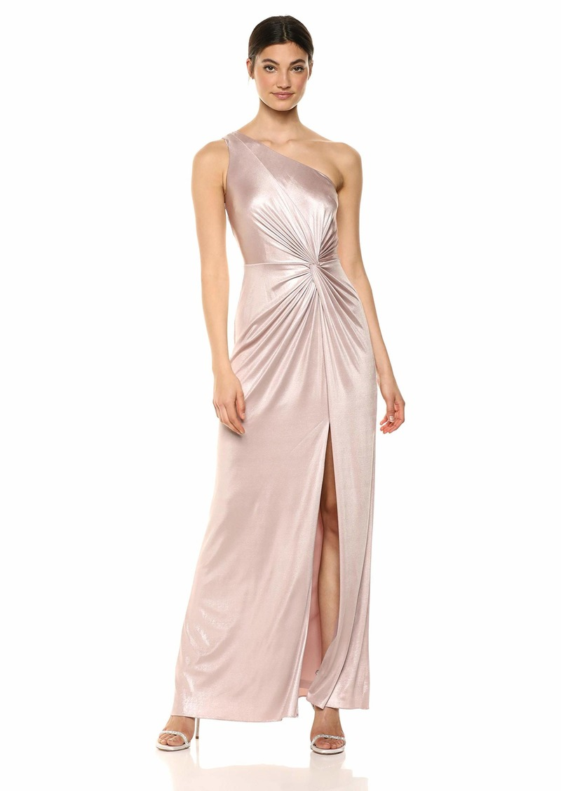 Adrianna Papell Women's One Shoulder Metallic Dress with Knot Detail