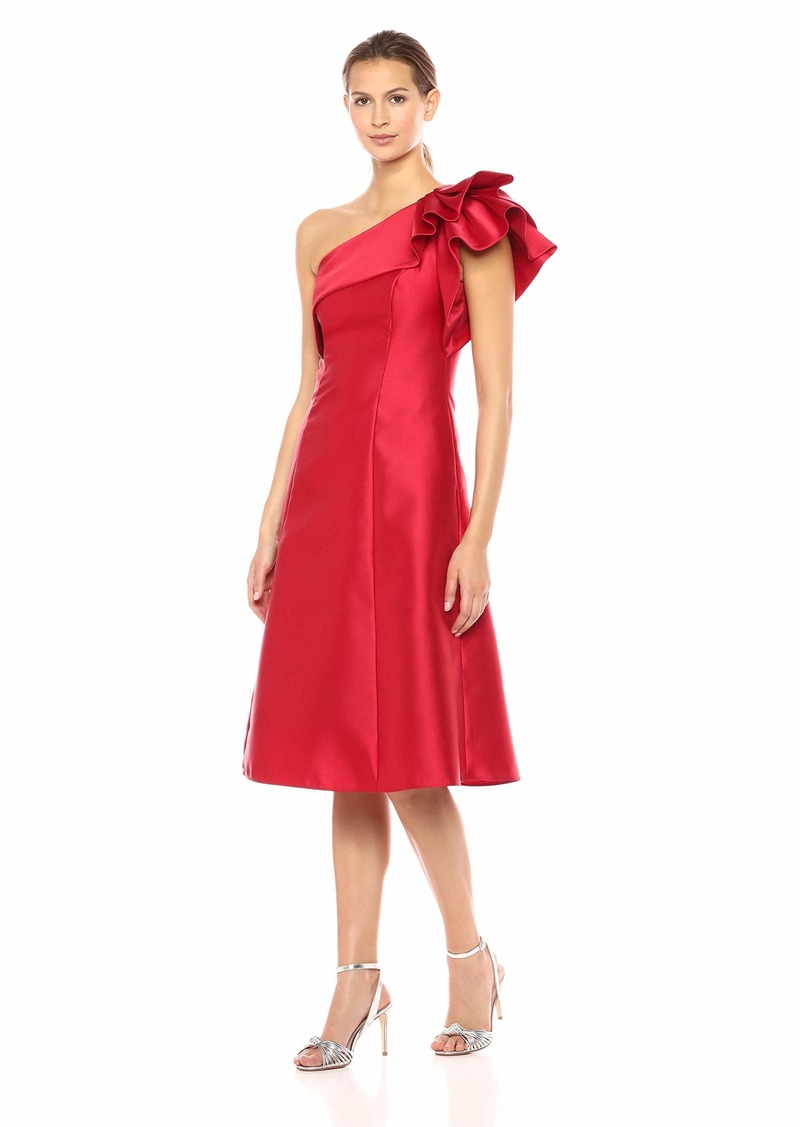 Adrianna Papell Women's One Shoulder Ruffle Sleeve Tea Length Mikado Dress red