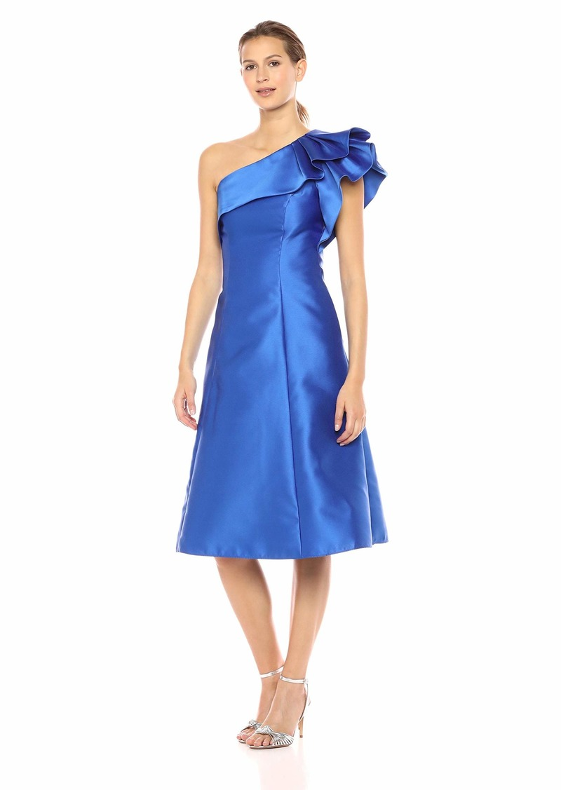 Adrianna Papell Women's One Shoulder Ruffle Sleeve Tea Length Mikado Dress YVES Blue