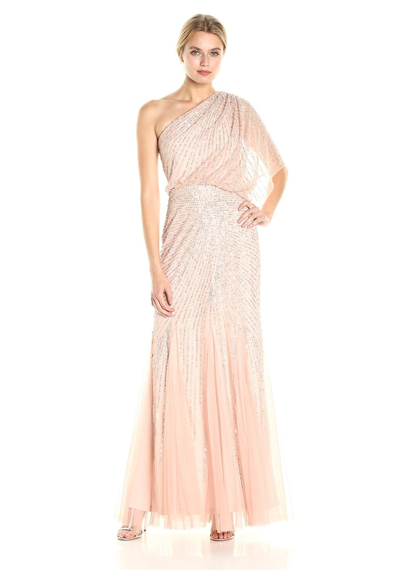 Adrianna Papell Adrianna Papell Women\'s One Shoulder Sequin Beaded ...