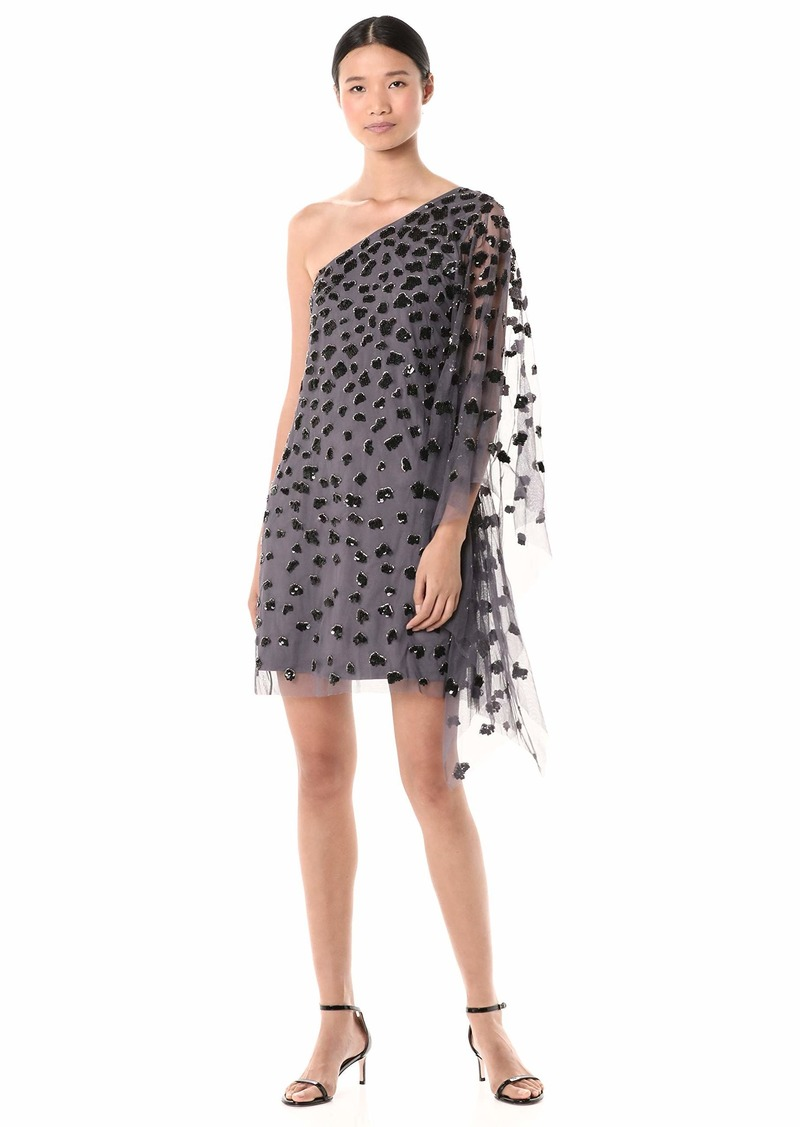 Adrianna Papell Women's One Shoulder Sequin Beaded Kaftan Cocktail Dress  XL