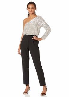 Adrianna Papell Women's Plus Size One Shoulder Sequin Jumpsuit  W
