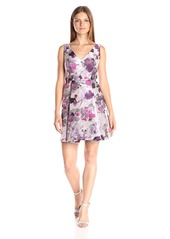 Adrianna Papell Women's Open Back Jacquard Party Dress with V-Neckline