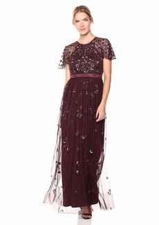 Adrianna Papell Women's Open Back Short Sleeve Fully Beaded Long Tulle Dress