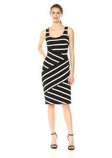 Adrianna Papell Women's Ottoman Striped Sheath Dress