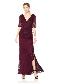 Adrianna Papell Women's Paisley ST. LACE Long Dress with Draped Skirt