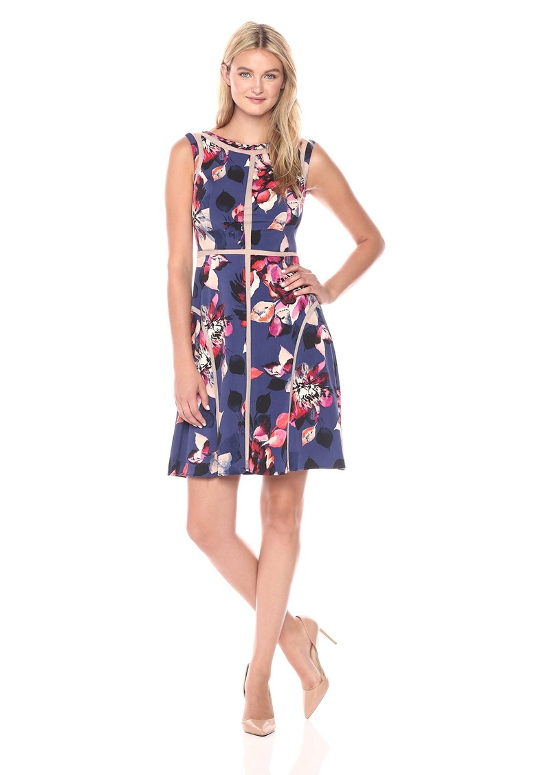 Adrianna Papell Women's Paneled Floral Printed Jersey Dress