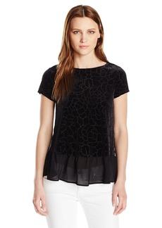 Adrianna Papell Women's Patterned Stretch Velvet Short Sleeve Peplum  S