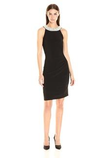 Adrianna Papell Women's Pearl Halter Side Drape Dress