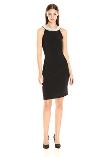 Adrianna Papell Women's Pearl Halter Side Drape Dress