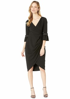 Adrianna Papell Women's Pearl Sleeve Crepe Cocktail