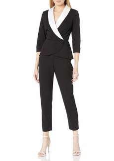 Adrianna Papell Women's Peplum Jumpsuit with Contrast Collar