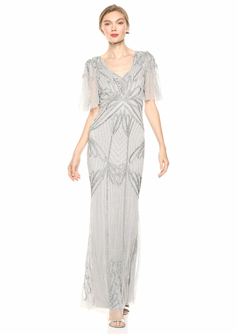 Adrianna Papell Women's Petite Beaded Long Dress
