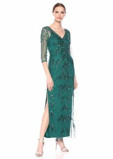 Adrianna Papell Women's Petite Beaded MESH Dress