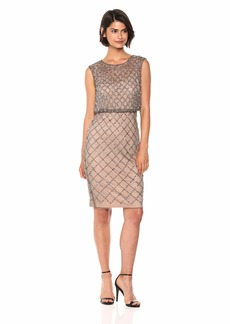 Adrianna Papell Women's Petite Classy Subtle Beaded Cocktail Dress with Ruffle Skirt  12P