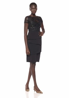 Adrianna Papell Women's Petite Knit Crepe Tiered Skirt Sequin Dress with Beaded Waistline  10P