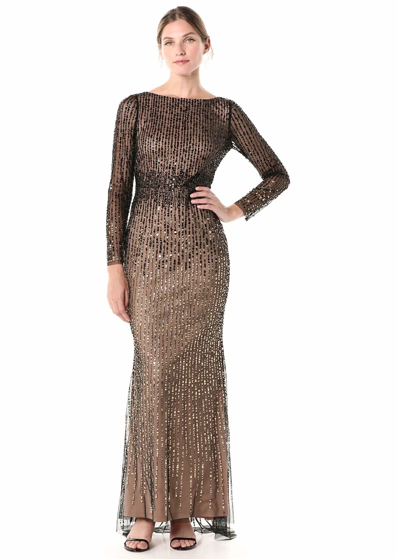 Adrianna Papell Women's Petite Sequin Beaded Two Tone Dress with Three Quarter Sleeves
