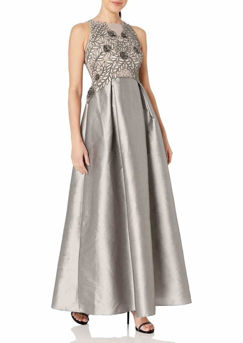 Adrianna Papell Women's Petite Size Irridescent Faille Beaded Gown  6P