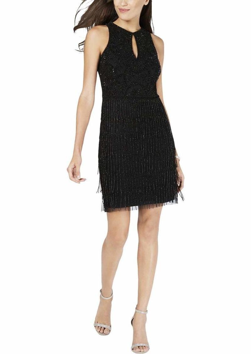Adrianna Papell Women's Petite Sleeveless Short Beaded Fringe Dress  12P