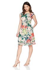 Adrianna Papell Women's Petite Stained Glass Floral Faille FIT and Flare Dress