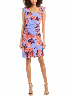 Adrianna Papell Women's Photoreal Floral Flounce Dress PERI/Coral