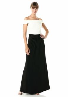 Adrianna Papell Women's Pintuck Off Shoulder Gown
