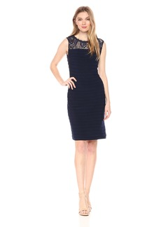 Adrianna Papell Women's Pintucked and LACE Jersey FIT and Flare
