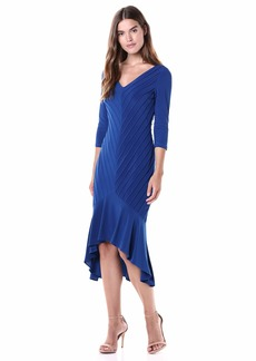 Adrianna Papell Women's Pintucked Jersey Flounce Dress