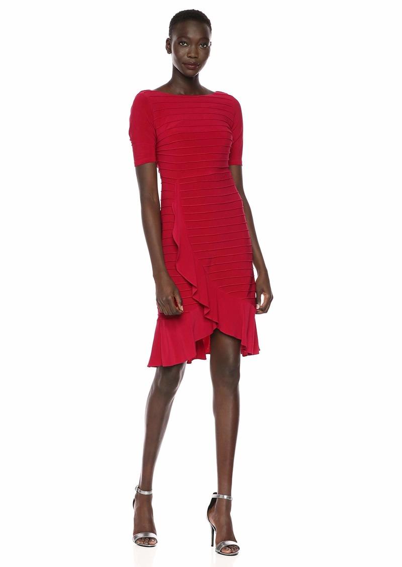 Adrianna Papell Women's Pintucked Ruffle Dress dark scarlet