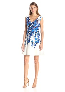 Adrianna Papell Women's Placed Border Fit and Flare Scuba Dress