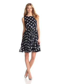 Adrianna Papell Women's Pleated Burn Out Dot Dress
