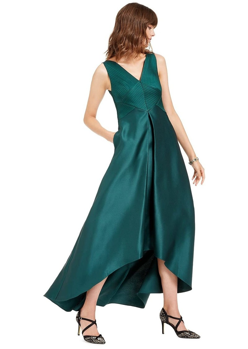 Adrianna Papell Women's Pleated Hi Low Mikado Gown