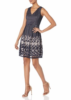 Adrianna Papell Women's Pleated Plaid Dot Fit & Flare