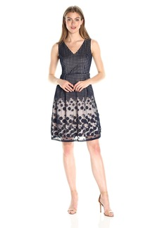 Adrianna Papell Women's Pleated Plaid Dot Fit and Flare