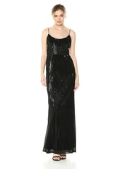 Adrianna Papell Women's Pleated Sequin Mesh Spaghetti Strap Mermaid Gown