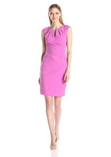 Adrianna Papell Women's Pleated Side-Wrap Sheath Dress