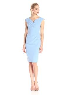 Adrianna Papell Women's Pleated Surplus V Neck Sheath Dress