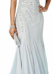 Adrianna Papell Women's Plunging V Illusion Neckline Mesh Beaded Long Evening Dress