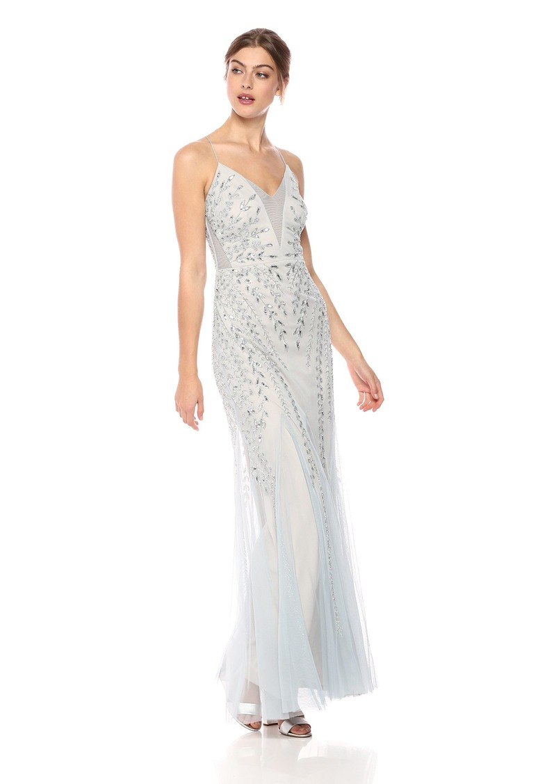 Adrianna Papell Women's Plunging V Illusion Neckline Mesh Beaded Long Evening Dress