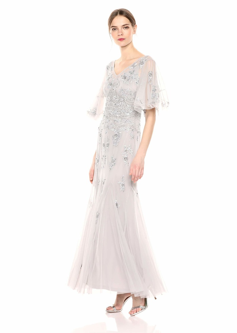 Adrianna Papell Women's Plus Size Beaded Wide Sleeve Gown