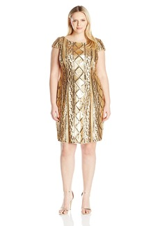 Adrianna Papell Women's Plus Size Cap Sleeve Cable Sequin Dress