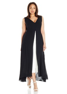 Adrianna Papell Women's Plus-Size Colorblocked Overlay Culotte Jumpsuit Black/Ivory