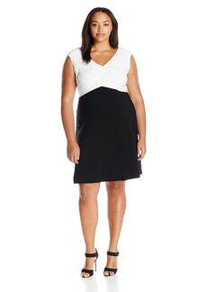 Adrianna Papell Women's Plus Size Criss Cross Baned Jersey Fit N Flare Black/Ivory 22W