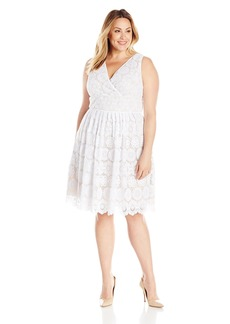 Adrianna Papell Women's Plus Size Deep Vneck Fit and Flare Medallion Lace  18W