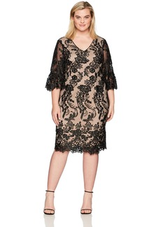 Adrianna Papell Women's Plus Size Eillen Embroidery Flare Sleeve  14W