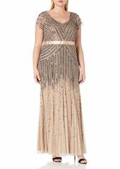 Adrianna Papell Women's Plus Size Floor Length Beaded Cap Sleeve V-Neck Dress  W
