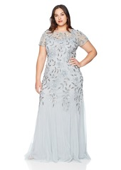 Adrianna Papell Women's Plus Size Floral Beaded Godet Long Dress